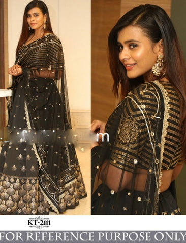 Celebrity Wear KF3788 Bollywood Inspired Black Silk Net Lehenga Choli - Fashion Nation