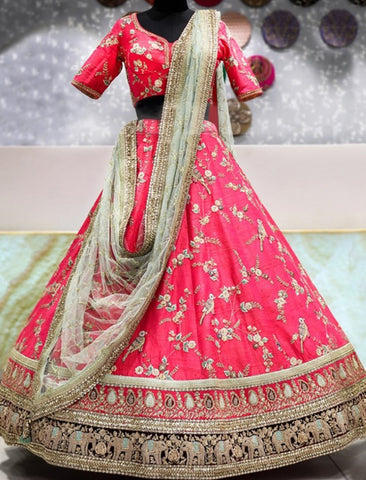 Celebrity Wear KF3817 Bollywood Inspired Pink Silk Net Lehenga Choli - Fashion Nation