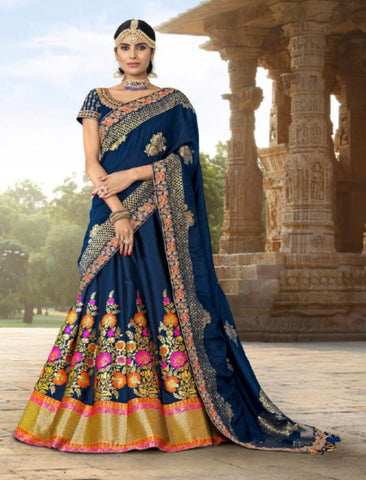 Ethnic MAI12002 Wedding Special Blue Banarasi Jacquard Silk Lehenga Choli - Fashion Nation