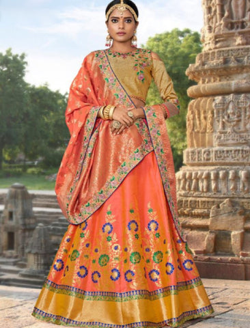 Bridal MAI12003 Wedding Special Peach Golden Banarasi Jacquard Silk Lehenga Choli - Fashion Nation