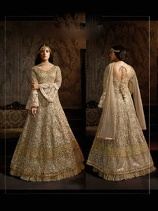 Cocktail Wear MAI7601 Indo Western Beige Net Silk Double Layered Anarkali Gown - Fashion Nation