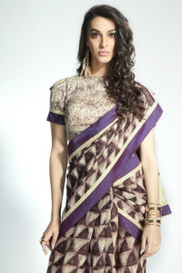 Stylish MIS01 Trendywear Purple Handloom Silk Saree - Fashion Nation