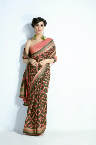 Designer MIS02 Trendywear Peach Green Handloom Silk Saree - Fashion Nation