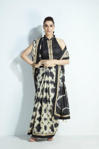 Artistic MIS03 Tie And Dye Patterned Black White Handloom Silk Saree
