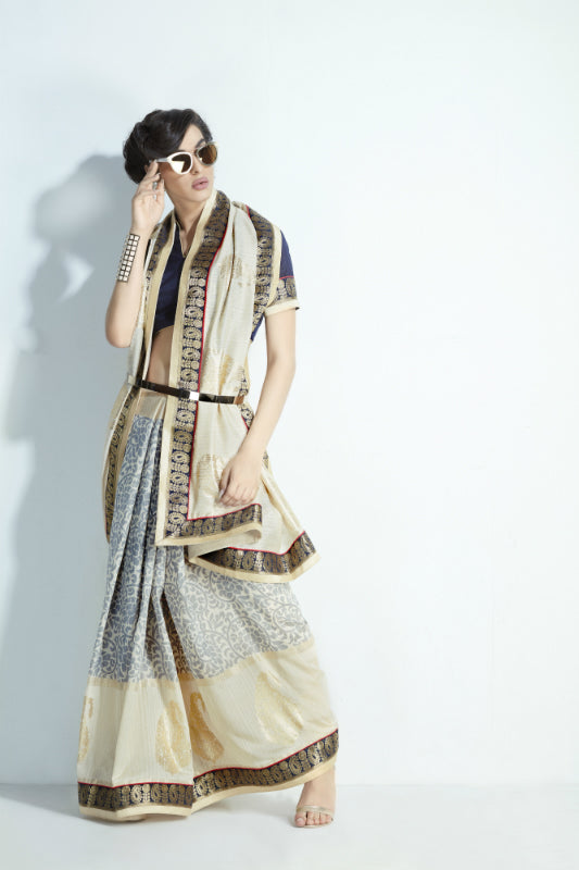 Traditional MIS05 Elegant Grey Cream Handloom Silk Saree