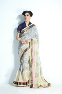 Traditional MIS05 Elegant Grey Cream Handloom Silk Saree - Fashion Nation