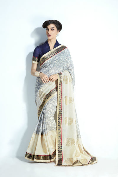 Traditional MIS05 Elegant Grey Cream Handloom Silk Saree by Fairy Sarees