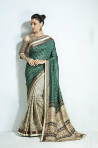 Fashionable MIS06 Elegant Green Beige Handloom Silk Saree