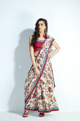 Ethnic MIS11 Traditional Wear White Multicoloured Handloom Silk Saree - Fashion Nation