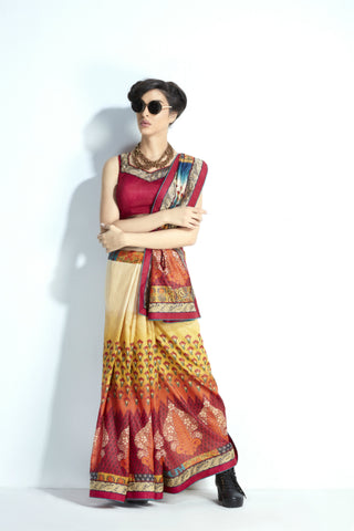 Trendy Wear MIS14 Heritage Motifs Multicoloured Handloom Silk Saree - Fashion Nation