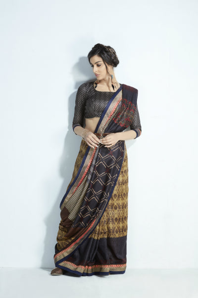 Partywear MIS17 Pretty Black Multicoloured Handloom Silk Saree by FashionNation