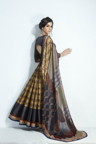 Partywear MIS17 Pretty Black Multicoloured Handloom Silk Saree