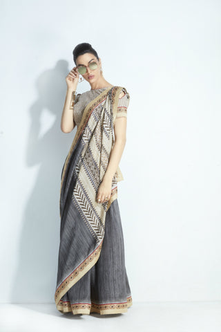 Excellent MIS20 Attractive Shaded Grey Cream Handloom Silk Saree
