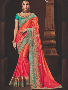 Finest Nakkashi NAK4168 Designer Pink Orange Shaded Satin Georgette Saree - Fashion Nation