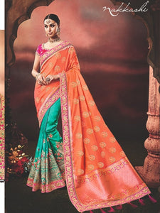Pretty Nakkashi NAK4169 Designer Blue Silk Orange Jacquard Half Saree - Fashion Nation