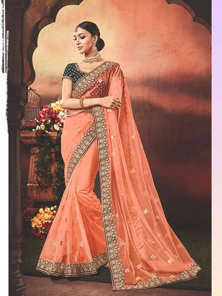 Superb Nakkashi NAK4172 Designer Orange Net Morpeach Velevt Saree - Fashion Nation