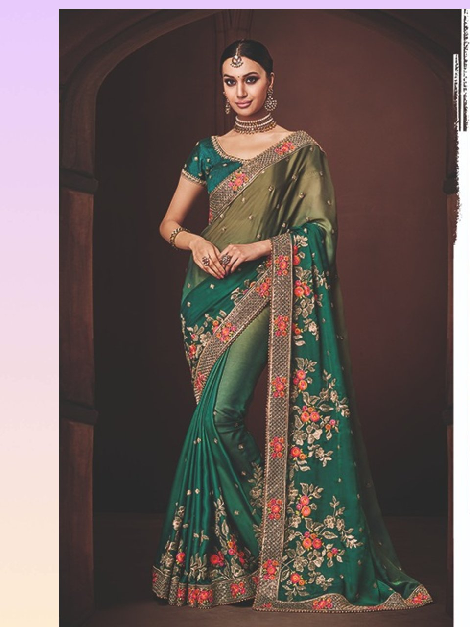 Excellent Nakkashi NAK4173 Designer Shaded Morpeach Olive Satin Georgette Saree - Fashion Nation