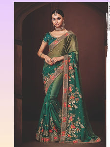 Excellent Nakkashi NAK4173 Designer Shaded Morpeach Olive Satin Georgette Saree - Fashion Nation.in