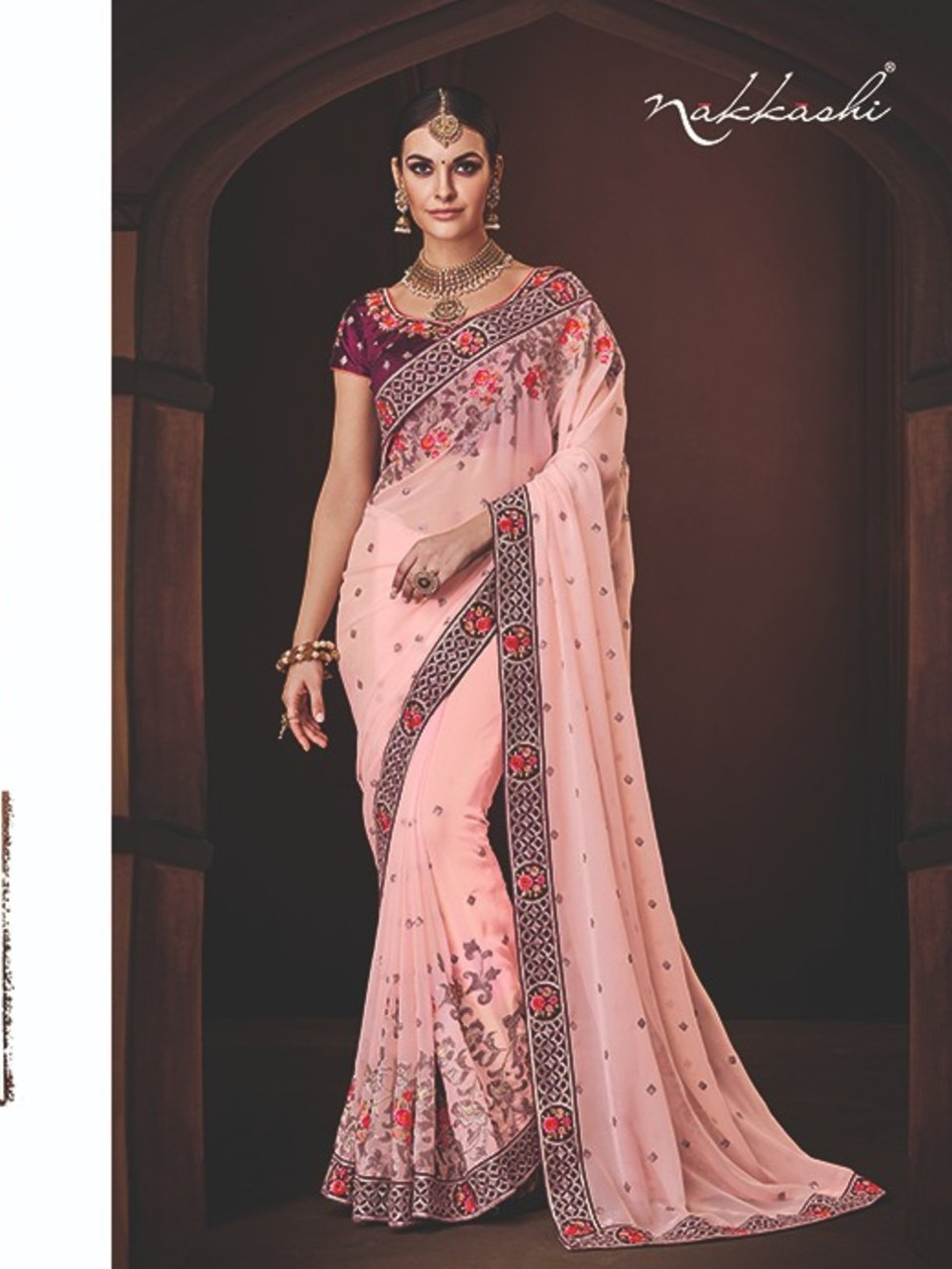 Curated Nakkashi NAK4174 Designer Peach Georgette Magenta Silk Saree - Fashion Nation