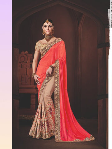Handcrafted Nakkashi NAK4176 Designer Beige Handloom Silk Peach Silk Georgette Saree - Fashion Nation