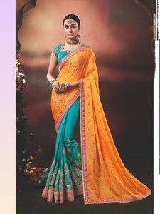 Nice Nakkashi NAK4177 Designer Blue Handloom Silk Orange Silk Georgette Saree - Fashion Nation.in