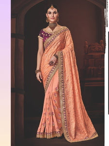 Graceful Nakkashi NAK4178 Designer Pink Handloom Silk Georgette Saree - Fashion Nation.in