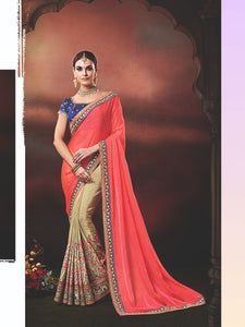 Embroidered Nakkashi NAK4179 Designer Beige Handloom Silk Pink Georgette Saree - Fashion Nation.in