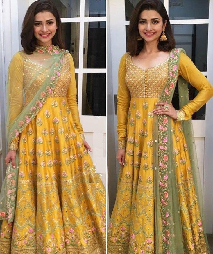 Celebrity Prachi Desai Bollywood Inspired Yellow Green Silk Net Anarkali Suit - Fashion Nation