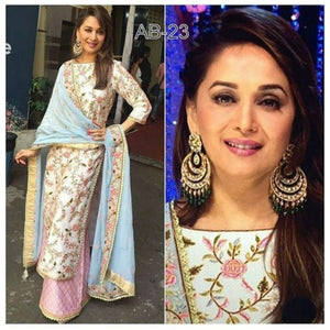 Stunning Madhuri Dixit Bollywood Inspired Pink White Silk Anarkali Suit - Fashion Nation