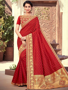 Bridal NJ10170 Designer Maroon Gold Silk Jacquard Saree - Fashion Nation