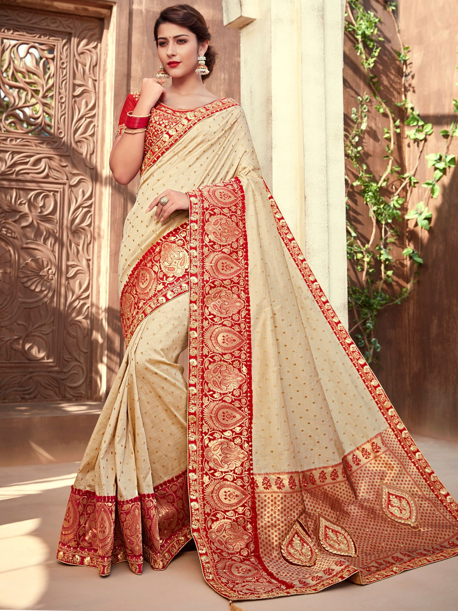 Festive NJ10176 Splendid Off-White Golden Red Silk Jacquard Saree - Fashion Nation