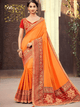 Shaadi Special Orange Silk Jacquard Ethnic Saree with Blouse by Fashion Nation