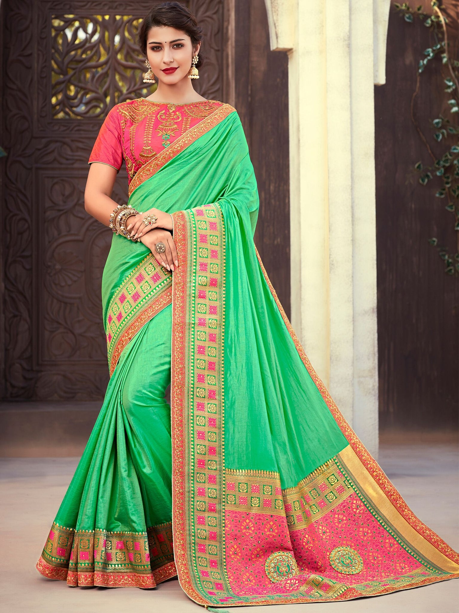 Attractive NJ10179 Designer Green Peach Silk Jacquard Saree - Fashion Nation.in