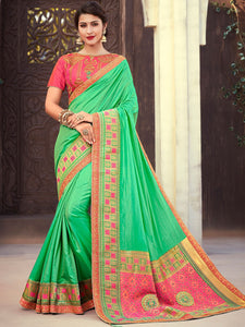 Attractive NJ10179 Designer Green Peach Silk Jacquard Saree - Fashion Nation
