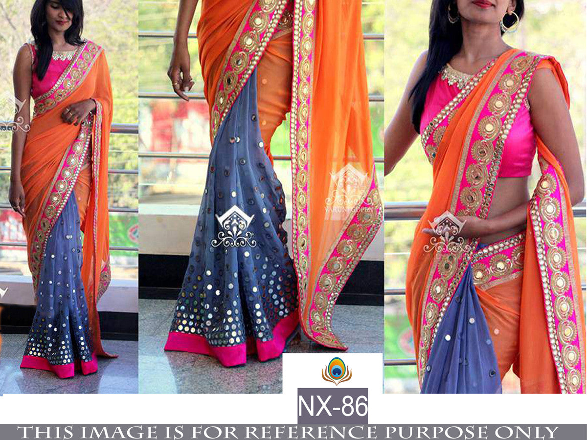 Stylish Designer NX86 Blue Orange Pink Georgette Silk Saree - Fashion Nation