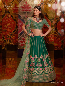 Nakkashi Reception Wear Green Raw Silk Designer Lehenga Choli by Fashion Nation