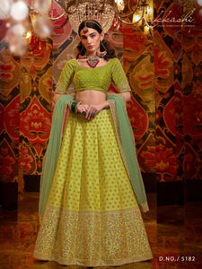 Special Occasion Wear Nakkashi Liril Green Satin Silk Lehenga Choli by Fashion Nation
