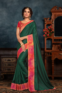 Celebrations Special Green Silk Finest Saree with Blouse - Fashion Nation