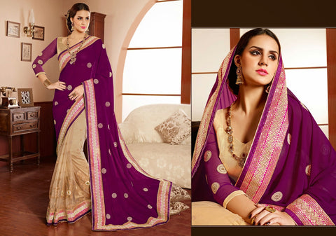 PRG6190 - Purple Cream Net Georgette Saree - Fashion Nation