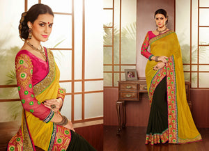 PRG6195 - Yellow Green Tissue Georgette Saree - Fashion Nation