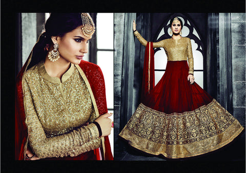 PRK4837 Ethnic Alluring Maroon Golden Georgette Anarkali Gown - Fashion Nation