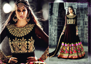 PRK4839 Ethnic Alluring Black Georgette Anarkali Gown - Fashion Nation