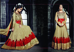 PRK4840 Ethnic Alluring Beige Georgette Anarkali Gown - Fashion Nation