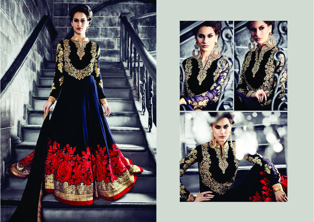 PRK4842 Ethnic Alluring Navy Blue Georgette Anarkali Gown - Fashion Nation.in