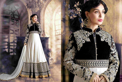 PRK5068 Ethnic Attractive Off-White Georgette Anarkali Gown - Fashion Nation