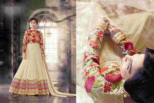 PRK5069 Ethnic Attractive Beige Georgette Anarkali Gown - Fashion Nation