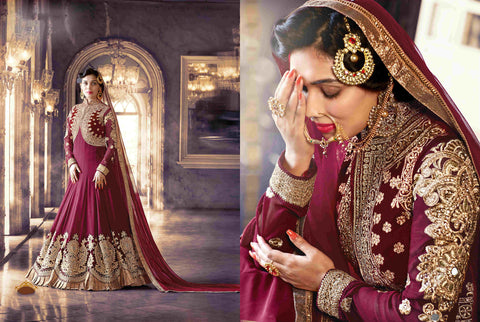 PRK5070 Ethnic Attractive Magenta Georgette Anarkali Gown - Fashion Nation