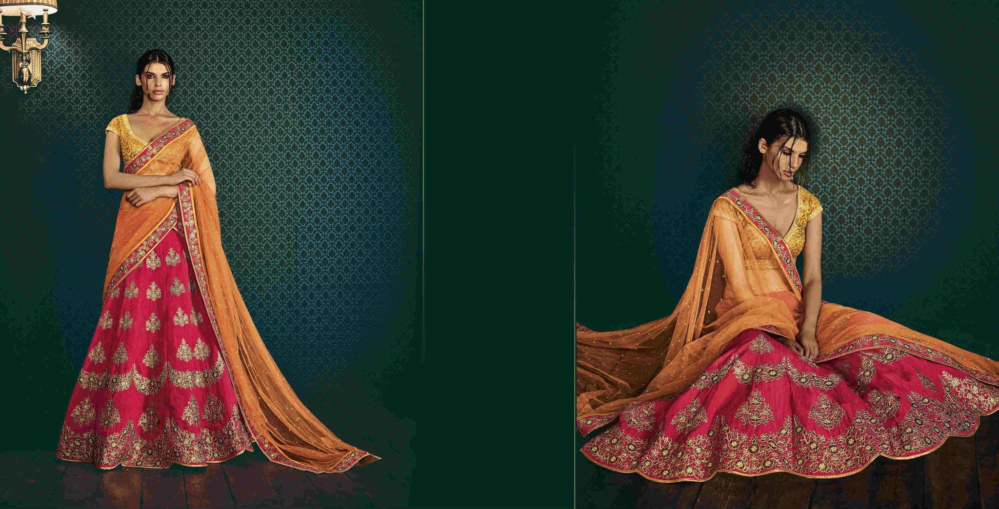 Traditional Nakkashi Bridal PRK8965 Pink Orange Yellow Silk Net Lehenga - Fashion Nation.in