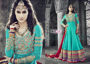 PRK4838 Ethnic Alluring Aqua Blue Red Georgette Anarkali Gown - Fashion Nation