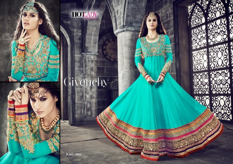 PRK4838 Ethnic Alluring Aqua Blue Red Georgette Anarkali Gown - Fashion Nation.in  - 1